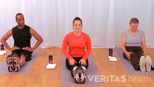 Image of two women and a man sitting on yoga mats in an exercise studio